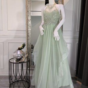 Sage Green Formal Evening Prom Dress Gown